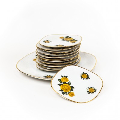 Open Plaats - Vintage 60s dessert servies met vrolijk bloemenmotief