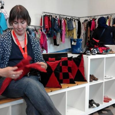 Open Plaats - kussens naaien van oude kleren