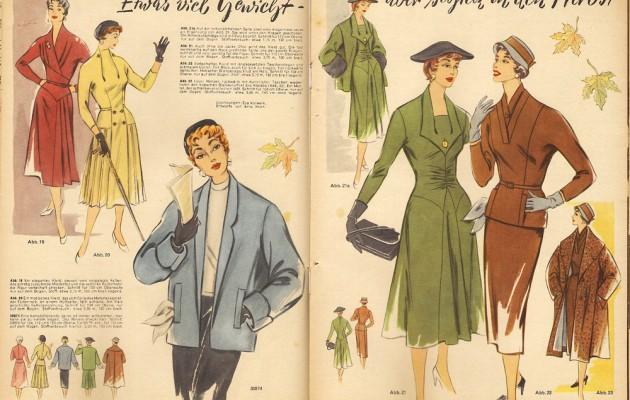 Open Plaats vintage mode in magazine in de kringloopwinkel