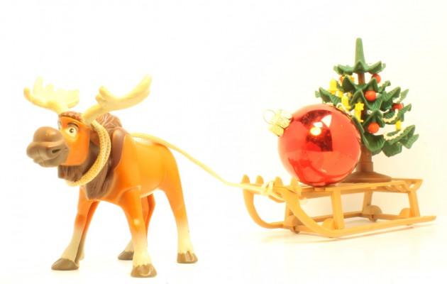 Open Plaats kerstmarkt: rendier met slee